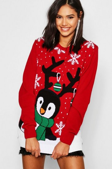 Red Penguin With Snowflakes & Baubles Christmas Jumper