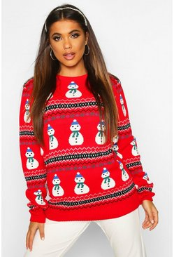 Womens Red Snowman Fairisle Christmas Jumper