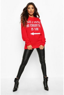Womens Red All I Want For Christmas Is You