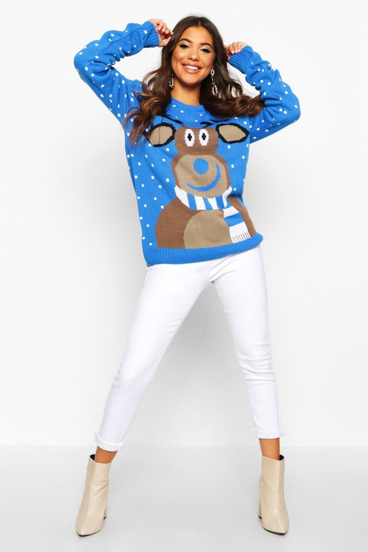 Reindeer Scarf Christmas Jumper