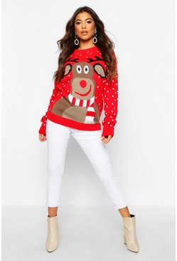 Red Reindeer Scarf Christmas Jumper
