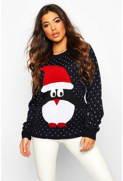 Womens Navy Penguin In Santa Hat Xmas Jumper