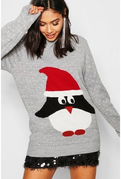 Womens Silver Penguin In Santa Hat Xmas Jumper