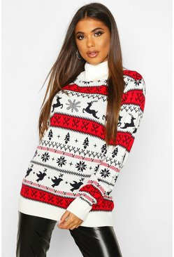 Womens Cream Fairisle Christmas Jumper