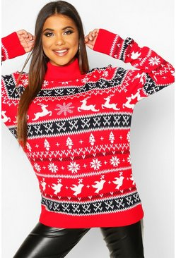 Womens Red Fairisle Christmas Jumper