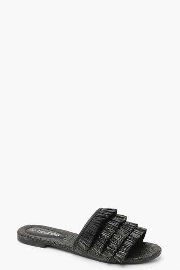 Womens Black Grass Fringe Sliders