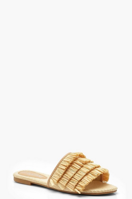 Grass Fringe Sliders, Beige, DAMEN