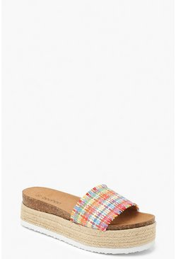 Womens Multi Woven Flatform Espadrille Sliders