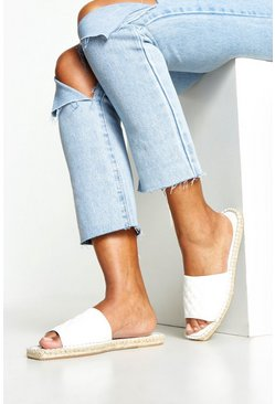Womens White Quilted Espadrille Sliders