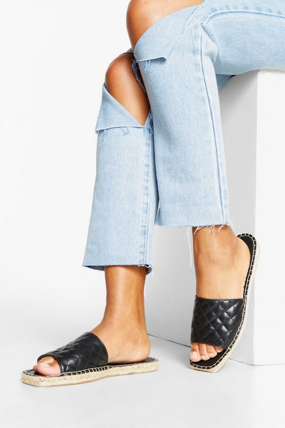 Womens Black Quilted Espadrille Sliders