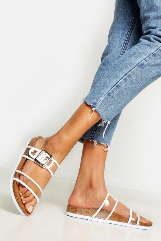 Womens White Clear Strap Footbed Sliders