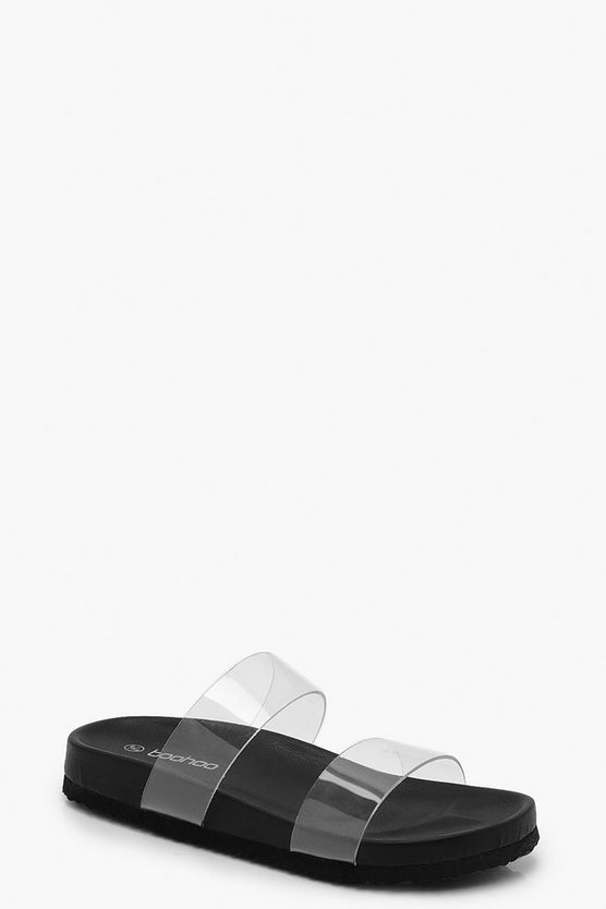 Black Clear Strap Footbed Sliders