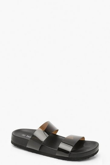 Womens Black Clear Strap Footbed Sliders