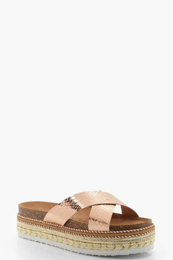 Womens Rose gold Cross Front Footbed Flatform Sliders