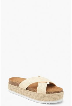 Cross Front Footbed Flatform Sliders, Beige, FEMMES