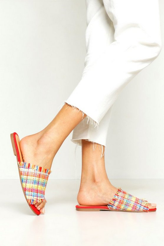 Womens Multi Woven Multi Colour Sliders