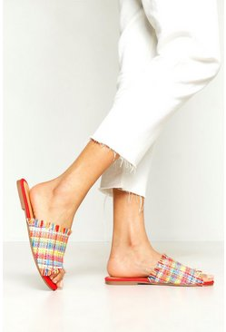 Womens Woven Multi Colour Sliders