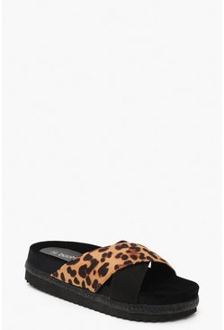 Womens Leopard Cross Front Footbed Flatform Sliders