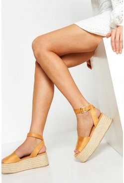 Womens Tan Two Part Flatform Espadrille Sandals