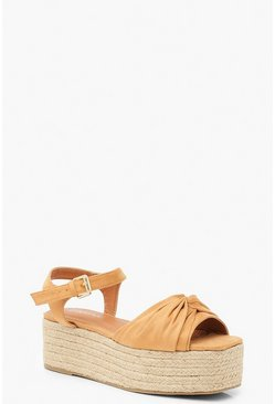 Knot Front Square Toe Flatform Sandals, Tan