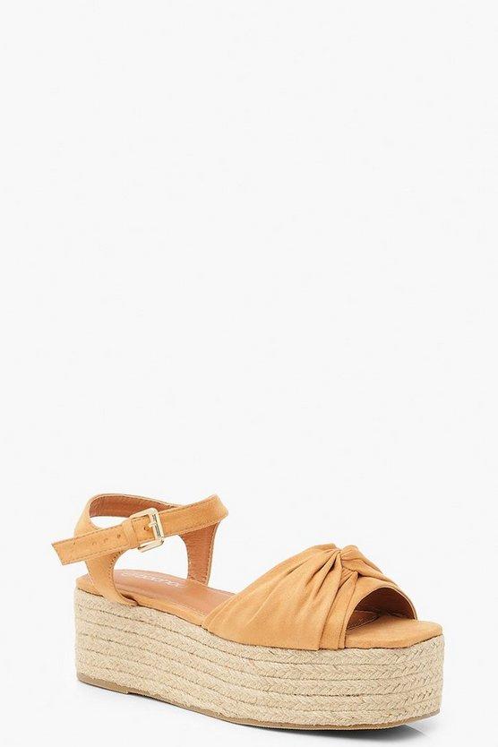 Knot Front Square Toe Flatform Sandals