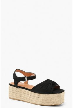 Womens Black Knot Front Square Toe Flatform Sandals