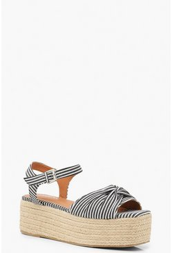 Womens Navy Stripe Knot Front Square Toe Flatform Sandals