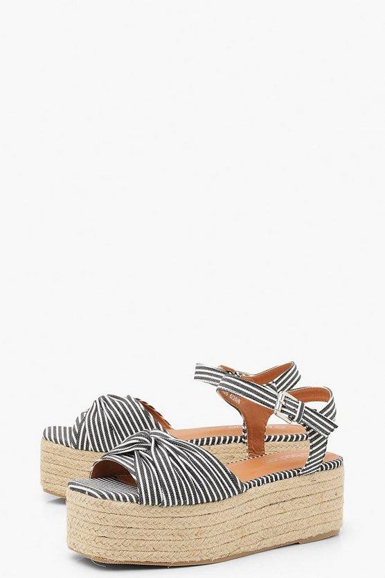 Stripe Knot Front Square Toe Flatform Sandals