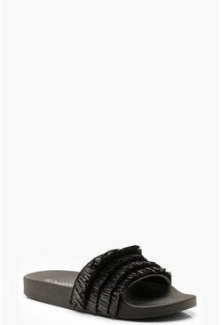 Womens Black Grass Footbed Sliders