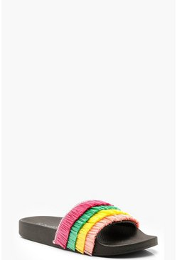Womens Multi Colour Grass Sliders