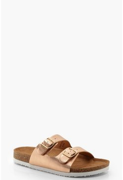 Womens Rose gold Metallic Footbed Sliders