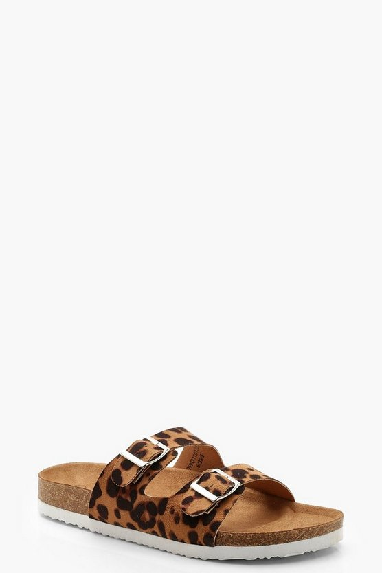 Womens Leopard Leopard Footbed Sliders