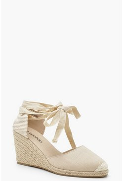Womens Cream Canvas Wrap Strap Espadrille Wedges