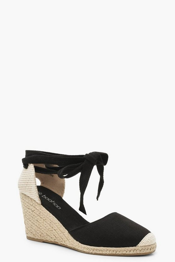 Womens Black Canvas Espadrille Wedges