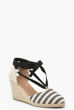 Womens Black Stripe Espadrille Wedges