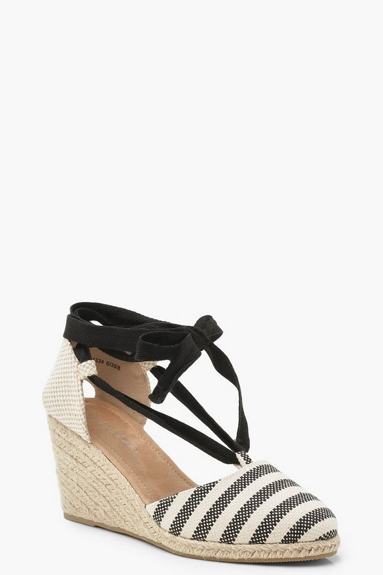 Stripe Espadrille Wedges