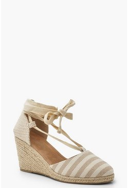 Womens Cream Stripe Espadrille Wedges