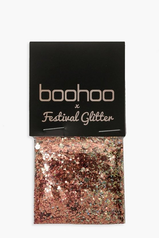 Womens Boohoo Rose Gold Chunky Glitter Pot