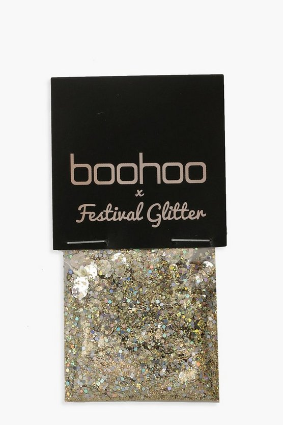 Boohoo Holographic Gold Glitter Pot
