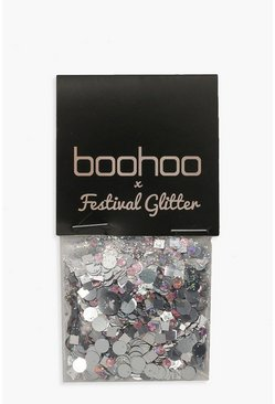 Womens Boohoo Holographic Pink Glitter Pot