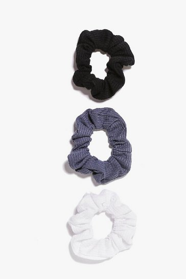 Womens Black 3 Pack Scrunchies