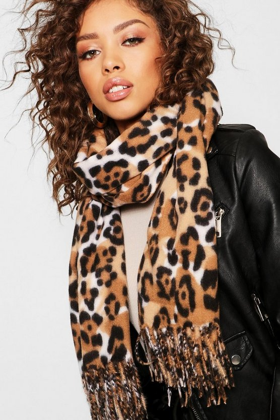 Womens Brown Natural Faux Cashmere Scarf