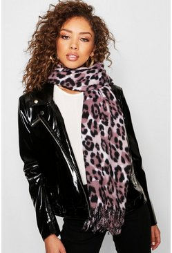 Womens Pink Leopard Woven Scarf