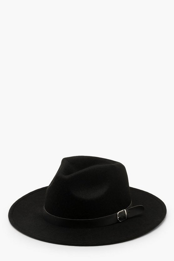 Womens Black Fedora Hat With Buckle Trim