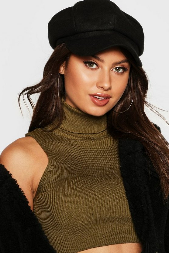 Womens Black Bakerboy Hat