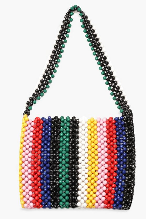 Womens Multi Rainbow Stripe Beaded Bag