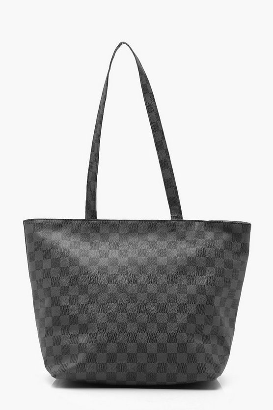 Womens Black Check Shopper Bag