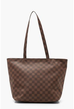 Womens Brown Check Shopper Bag
