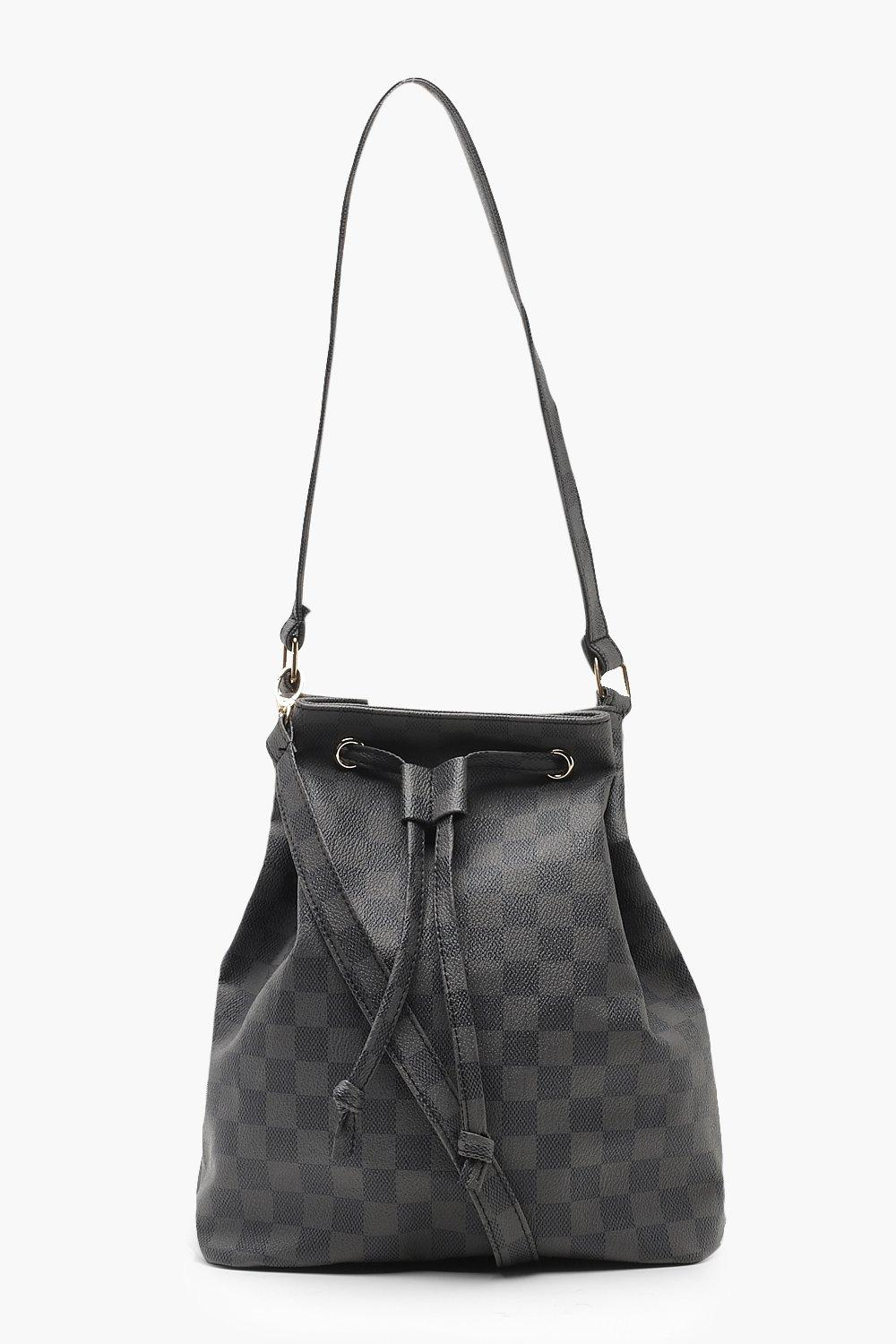 Check Duffle Bag With Cross Body Strap
