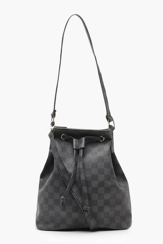 Womens Black Check Duffle Bag With Cross Body Strap